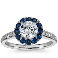 Halo Sapphire and Diamond Engagement Ring in 18k White Gold